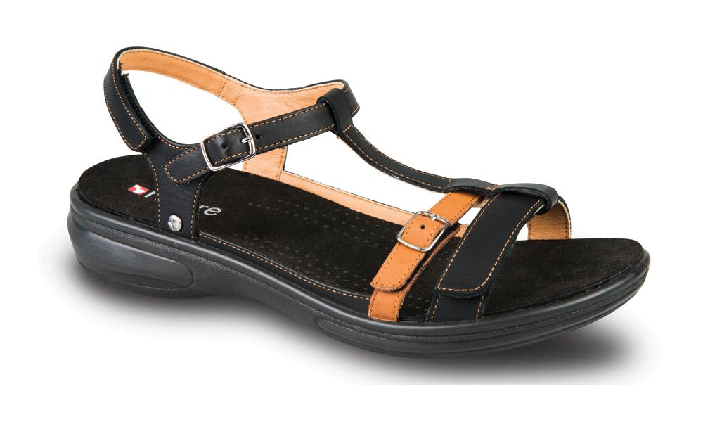 Revere Milan Womens Sandals - Black/tan